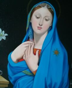 Hand painted oil painting reproduction,25x20 cm  Virgin of adoption ,Ingres