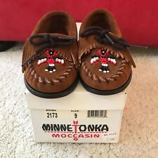 Minnetonka Size 9M Toddler 2173 Brown Suede Boat Sole Thunderbird Moccasins New