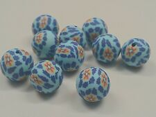 Handmade Polymer Clay Beads, Round, Sky blue, about 12mm, hole: 2mm Qty 10