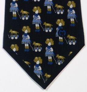 Blue Girl Dog MILA SCHON Silk Tie