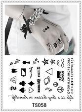 Poker Suit Temporary Tattoo Sticker DIY Keep 3-5 days Waterproof 14x9cm TS058