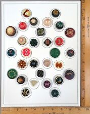 Card of 30 CELLULOID Antique BUTTONS #7, Bubble & Tight Tops, Pictorial & More