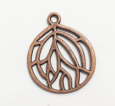 10 pcs of Antique copper plated pendant 27x22mm, Red bronze teardrop pendant