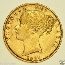 EXTREMELY RARE, UNRECORDED 1861 SHIELD SOVEREIGN BRITISH GOLD COIN FROM VICTORIA