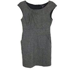 Banana Republic Womens Tweed Gray Wool Career Dress Sz 6 Cap Sleeve Lined