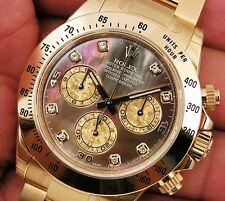 Rolex DAYTONA 116508 Mens Yellow Gold Black Mother Of Pearl Diamond Dial 40MM