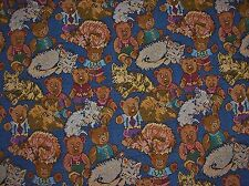 """Kitty Cats & Teddy Bears Tapestry Upholstery 57.5""""Wide Fabric - Sold by the Yard"""