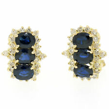 14k Yellow Gold 2.80ctw Oval Sapphire Round Diamond Cluster Omega Back Earrings
