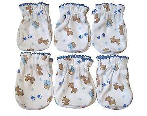 6 Pairs Newborn Baby/infant Anti-scratch Mittens Gloves - 100% Cotton - Cute Dog