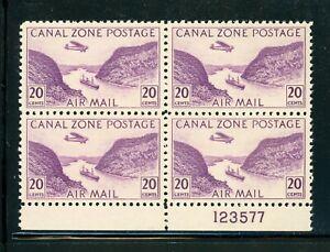 CANAL ZONE MLH Multiple Selections: Scott #C11 20c Red Violet GAILLARD CUT CV$8+