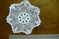 Unique Hand CROCHET DOILY Fine - Cotton WHITE to IVORY Round Approx 19cm across