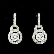 Sterling Silver Bridal Wedding Small CZ Drop Stud Earrings RRP $90