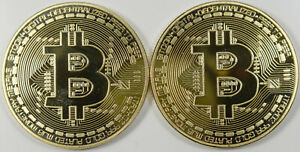 2013 Bitcoin MJB Art Gold Plated Copper Coins - Lot of 2