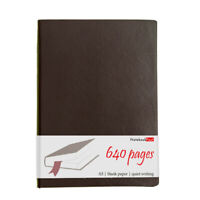 A5 Extra Thick Brown Leather Journal, Blank Paper Notebook Sketchbook, 640 Pages