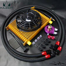 """AN10 15 Row Engine Oil Cooler +oil lines adapter kit + 7"""" Electric Fan"""