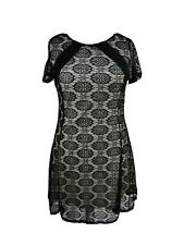 SIZE 18 black floral lace overlay short sleeve A line dress YOURS IMMAC J589
