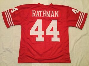 UNSIGNED CUSTOM Sewn Stitched Tom Rathman Red Jersey - M, L, XL, 2XL