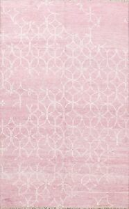 Geometric Pink Modern Oriental Area Rug Handmade Wool Contemporary Carpet 6x8