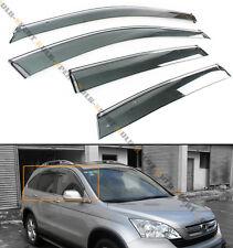 FOR 2007-11 HONDA CRV CR-V CLIP-ON SMOKE TINTED WINDOW VISOR VENT W/ CHROME TRIM