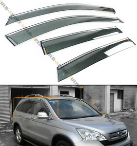 FOR 2007-11 HONDA CRV CR-V CLIP-ON SMOKE TINTED WINDOW VISOR VENT W/ CHROME TRIM