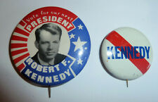 Two  000024D6 Political Pinbacks 1968 Campaign Robert Kennedy For President w. Picture