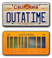 Back to the Future | OUTATIME + 2015 | STAMPED Replica License Plate Combo