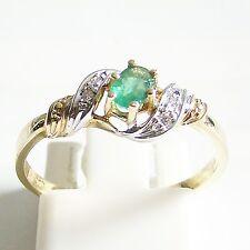 Ring Gold 585er 0,03 ct. Diamanten Smaragd 14 kt. Goldringe Edelsteine