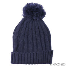 fdba503491f Unisex Mens Ladies Warm Winter Knitted Beanie Faux Fur Bobble Hat Cap One  Size Blue
