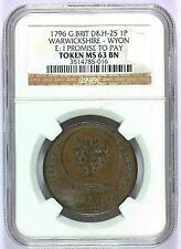 1796 Great Britain Warwickshire Wyon Penny Conder Token D&H-25 - NGC MS 63 BN
