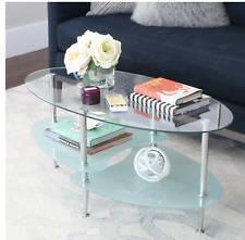Mid Century Modern Oval Glass Coffee Table by Walker Edison Furniture Company