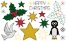 Quick Christmas card motifs modern counted cross stitch pdf pattern chart holly