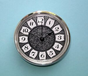 GERMAN 85mm bezel quartz clock insert with retro silver arabic dial