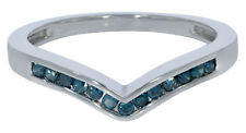 Prism Jewel 0.25Ct Channel Set Round Cut Blue Color Diamond Wishbone Ring