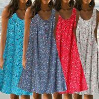 Women Casual Print Sleeveless Loose Plus Size Beach Summer Maxi Dress Ladies