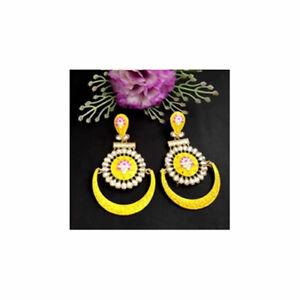 Yellow Glossy Meenakari Earring