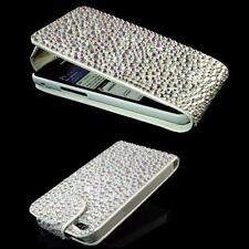 LUXUS f Samsung Galaxy S3 Mini I8200N Strass Handy Flip Tasche Bling Case Silber