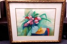 VINTAGE SIGNED LITHOGRAPH BY CLAUDE GAVEAU PIVOINES ROSES 22X29 GOLD FRAME 35X42