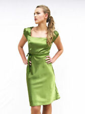 Knee Length Satin Dresses for Women with Cap Sleeve