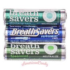 12x Breathsavers Lutschbonbons USA sans Sucre Lifesavers 3 Sorten (63,45 € / kg)