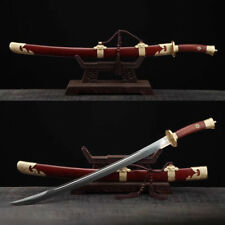 "High Quality Rosewood Damascus Folded Steel Blade CHINESE SWORD ""QING DAO"" Sabre"