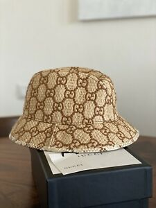 Auth New GUCCI Snake Leather Straw GG Supreme Fedora Bucket Summer Hat