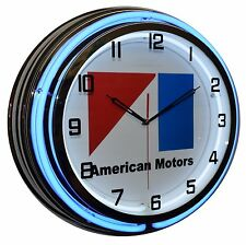 "18"" Amc American Motors Logo Blue Double Neon Lighted Clock Man Cave Garage"