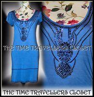 Kate Moss Topshop Blue Beaded Soft Jersey Dress 20s 30s Art Deco Flapper UK 8 10