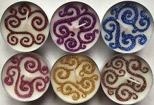 Vanilla Scented Maxi Tea Light Candles With Henna & Glitter Swirl Designs.