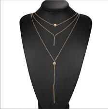 GOLD / SILVER TONE MULTI LAYER DISCS CLEAVAGE LARIAT CHOKER NECKLACE