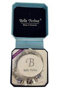 Bella Perlina Charm Bracelet - Glass Floral Purple Charms Rhinestones + Bonus