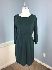 Ann Taylor LOFT Green sweater dress 3/4 sleeve Stretch L Wool Blend Career EUC