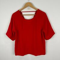 Sportsgirl Womens Top 12 Red Short Sleeve Round Neck