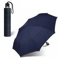 Esprit Herren-Regenschirm (blau,kariert) Taschenschirm Automatik-Schirm Blau Neu