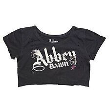 Abbey Dawn Distressed Women Black Crop Top Large